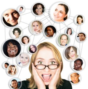 Shocked screaming young woman in glasses with her social network friends and business partners in a diagram
